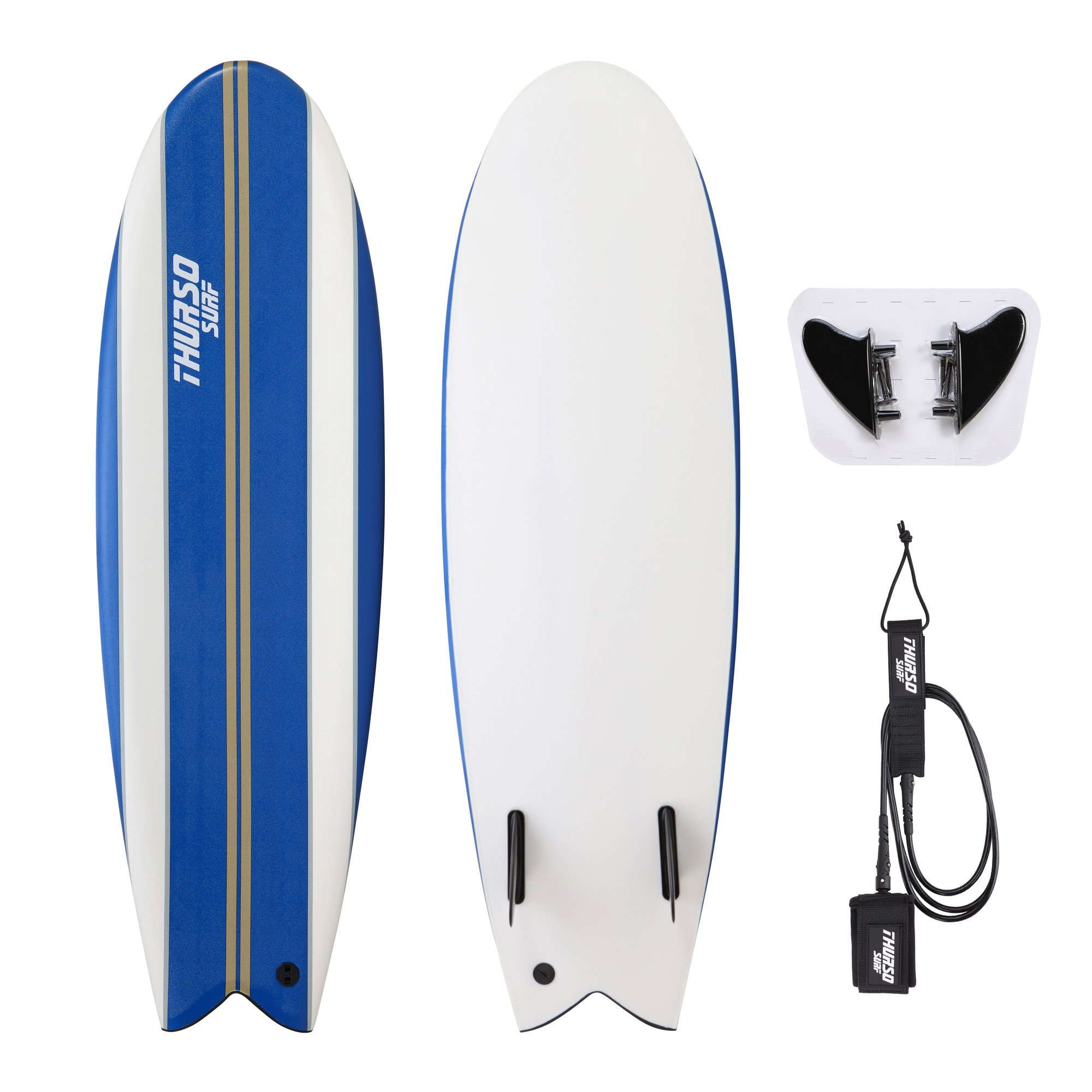 THURSO SURF Lancer 5'10'' Fish Soft Top Surfboard Package Includes Twin Fins Double Stainless Steel Swivel Leash EPS Core IXPE Deck HDPE Slick Bottom Built in Non Slip Deck Grip (Blue) by THURSO SURF