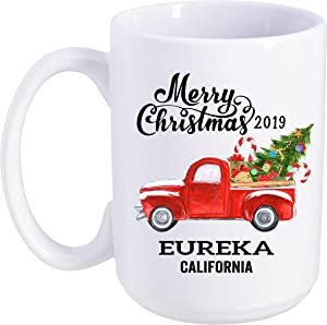 Eureka California State Family New Home Mug 2019 Christmas First New House - Decor Housewarming, Keepsake Present For Friends And Family - Merry Christmas Mug 15 Oz