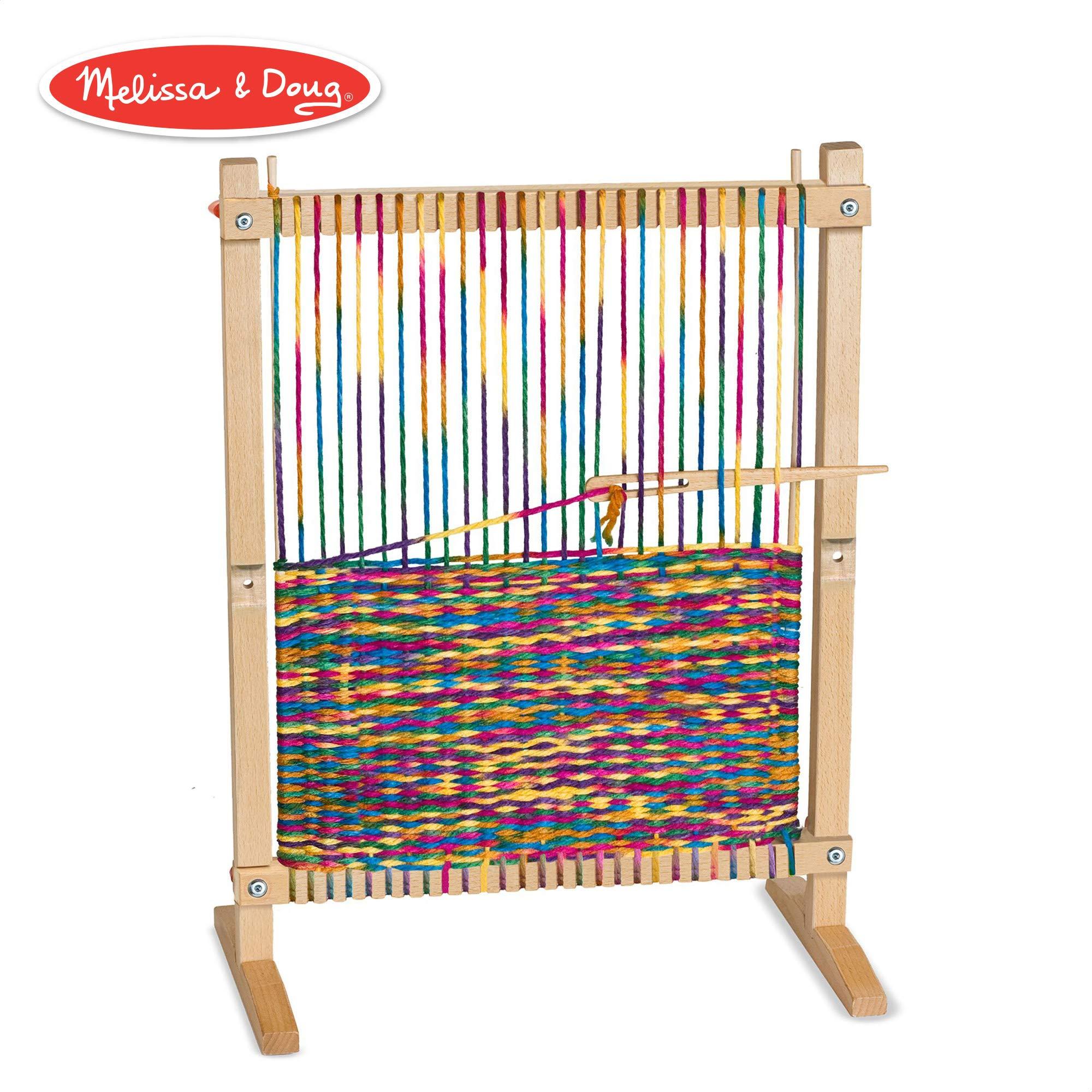 Melissa & Doug Wooden Multi-Craft Weaving Loom (Arts & Crafts, Extra-Large Frame, Develops Creativity and Motor Skills, 16.5'' H x 22.75'' W x 9.5'' L)