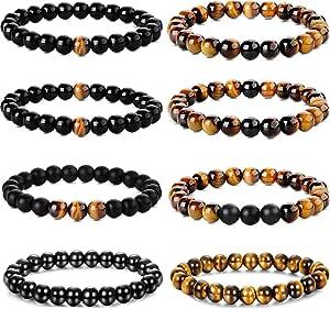 Yadoca 8 piezas 8mm pulseras para hombres mujeres ojo de tigre piedra Mala cuentas ágata piedra natural elástica Yoga pulseras conjunto