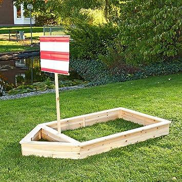 Wooden Pirate Ship Sandbox Kids Childrens Garden Play Boat Sandpit+Sail Red