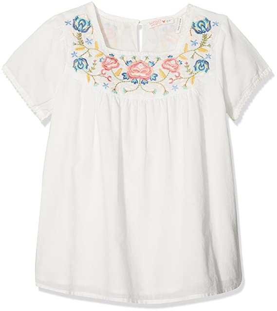 Fat Face Emma Embroidered Yoke, Blusa para Niñas, Marfil (Ecru), 4