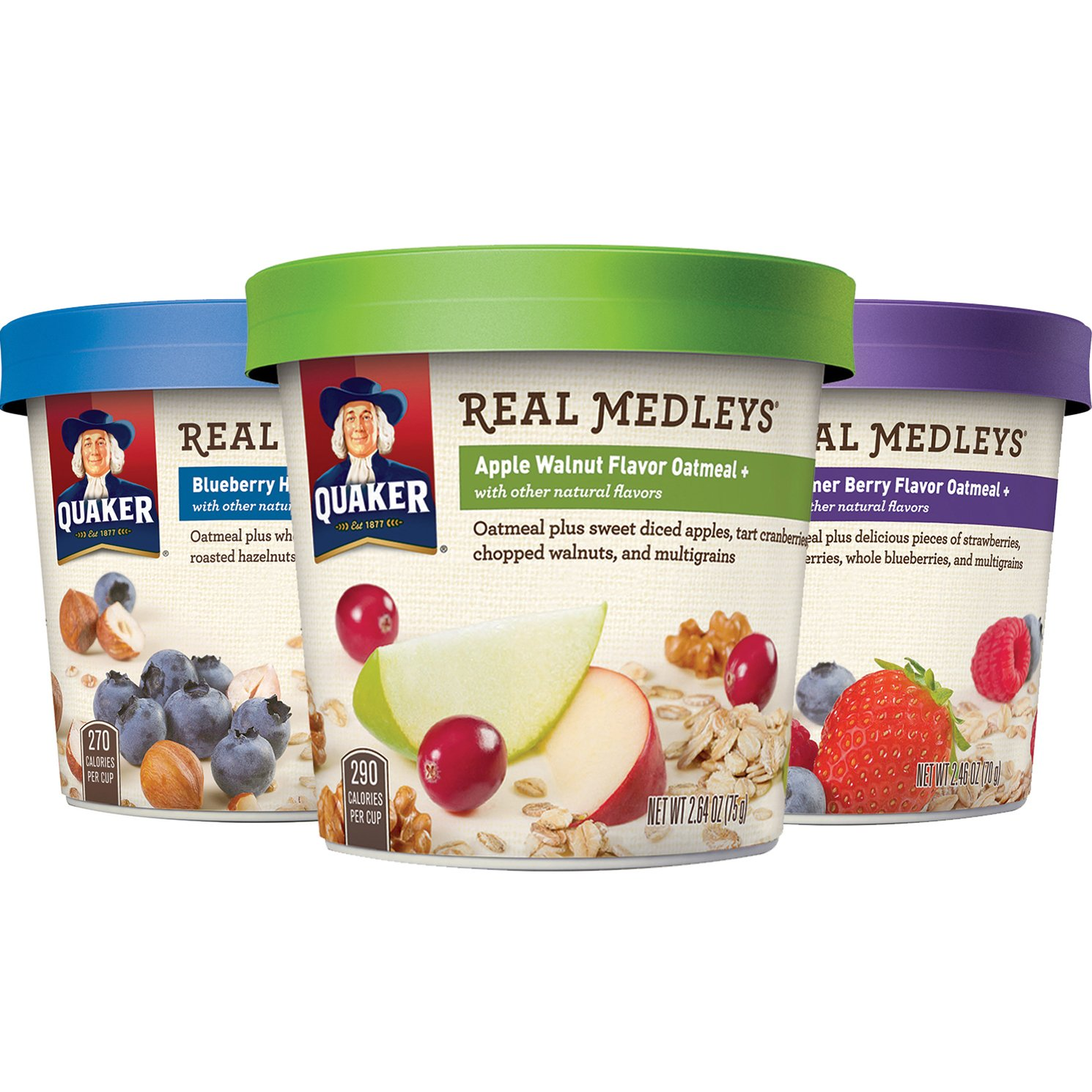 Quaker Real Medleys Oatmeal+, Variety Pack, Instant Oatmeal+ Breakfast Cereal (12 Pack Cups)