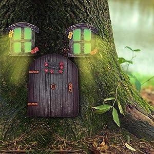 Veichin Fairy Gnome Garden Door Window and Door for Trees | Garden Doors and Windows Gnome House Miniature Yard Decor Art Sculptures Mystical Decoration Trunk Brown Cute Lawn Ornament