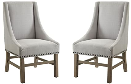 Donny Osmond Home Coaster Florence Modern Grey Upholstered Dining Chair  With Nailhead Trim