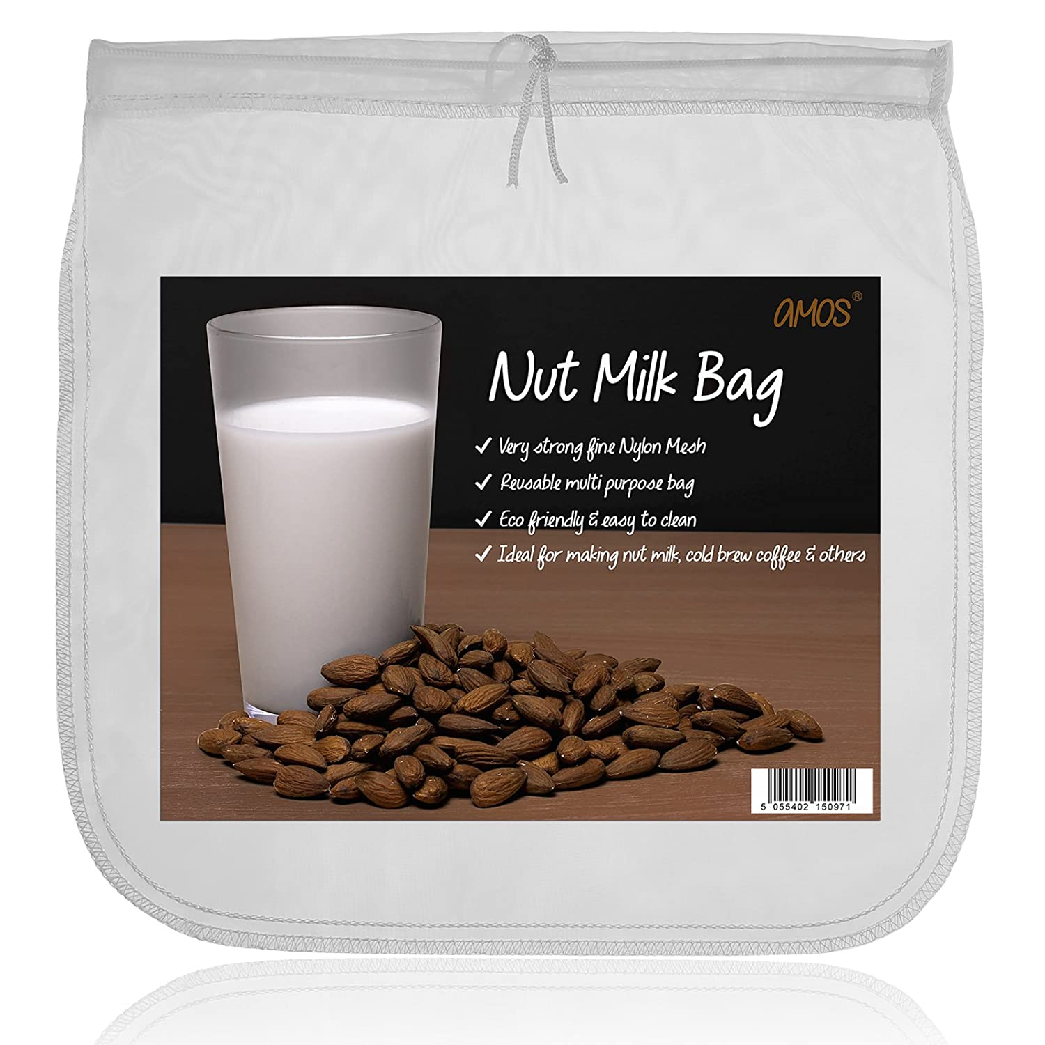 AMOS Nut Milk Bag Super Strong Eco-friendly Reusable Food-Grade 200 Microns Fine Mesh Nylon Homemade Organic Almond Soya Oat Hemp Coconut Milk Maker Strainer Filter