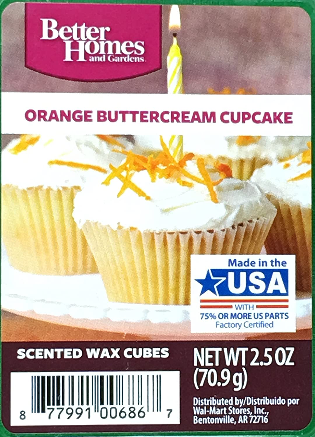 Amazon.com: 1 X Better Homes And Gardens Orange Buttercream Cupcake Wax  Cubes: Home U0026 Kitchen