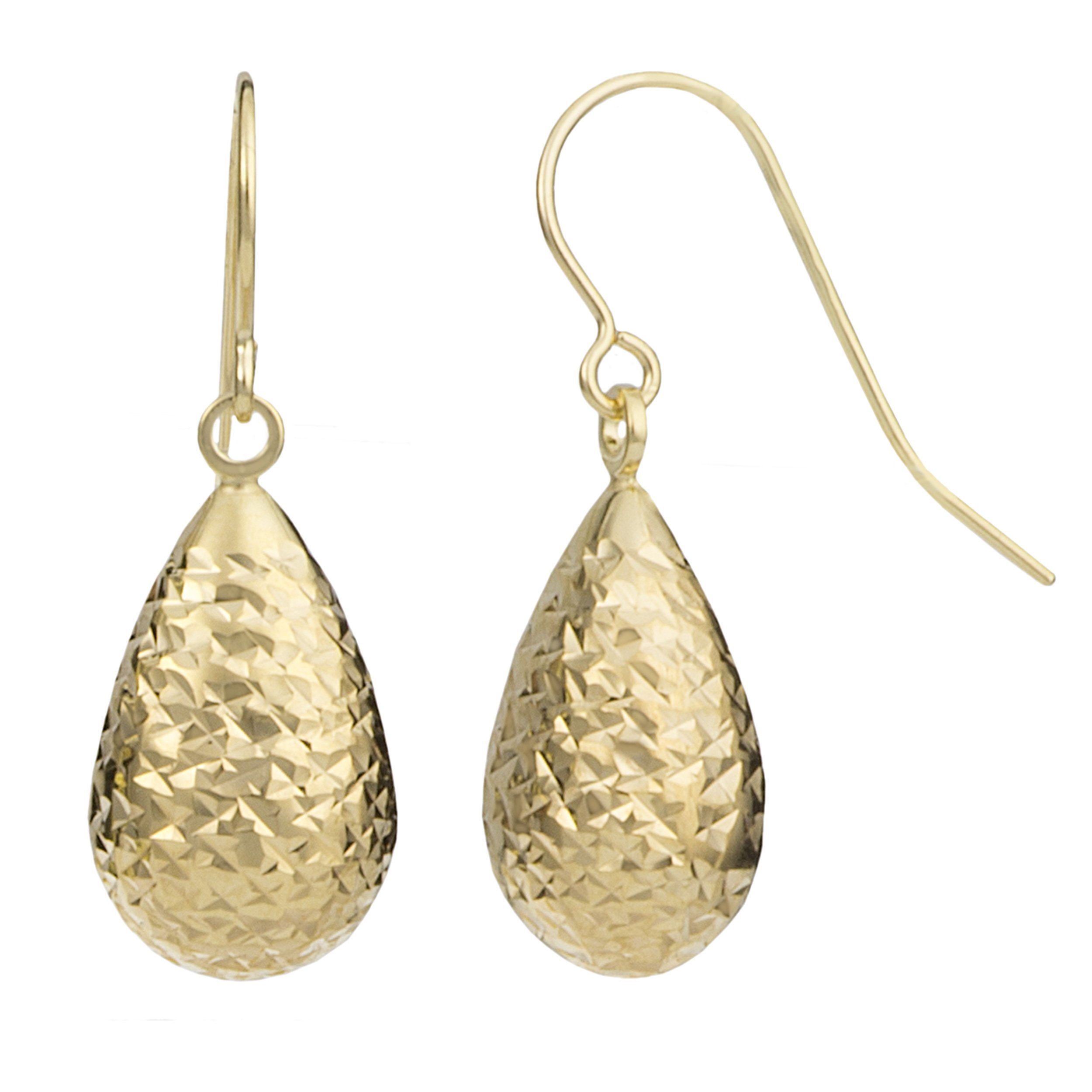 14k Yellow Gold Diamond-cut Teardrop Earrings