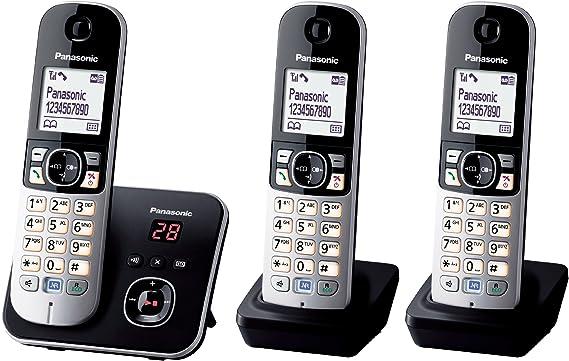 Panasonic KX-TG6823 - Teléfono fijo digital (contestador, inalámbrico, pantalla LCD), negro y plateado [Versión Importada]: Panasonic: Amazon.es: Electrónica