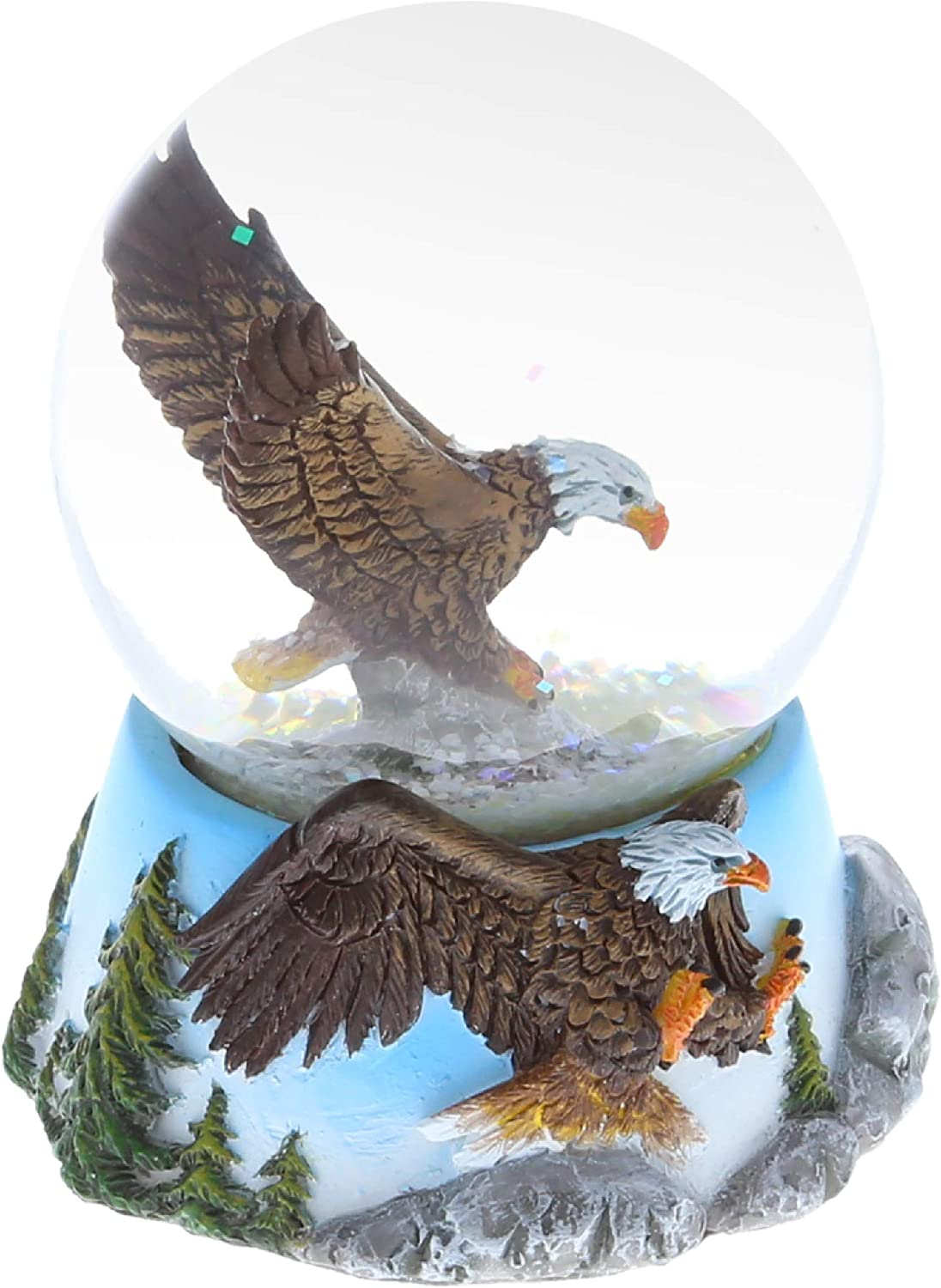 CoTa Global Animal Glitter Snow Globe Glass Collectibles, Cool Land & Ocean Decor Wildlife Figurines Snow Globes Centerpiece, Nautical Water Globes For Home Decor & Shelf Decorations 65mm - Bald Eagle