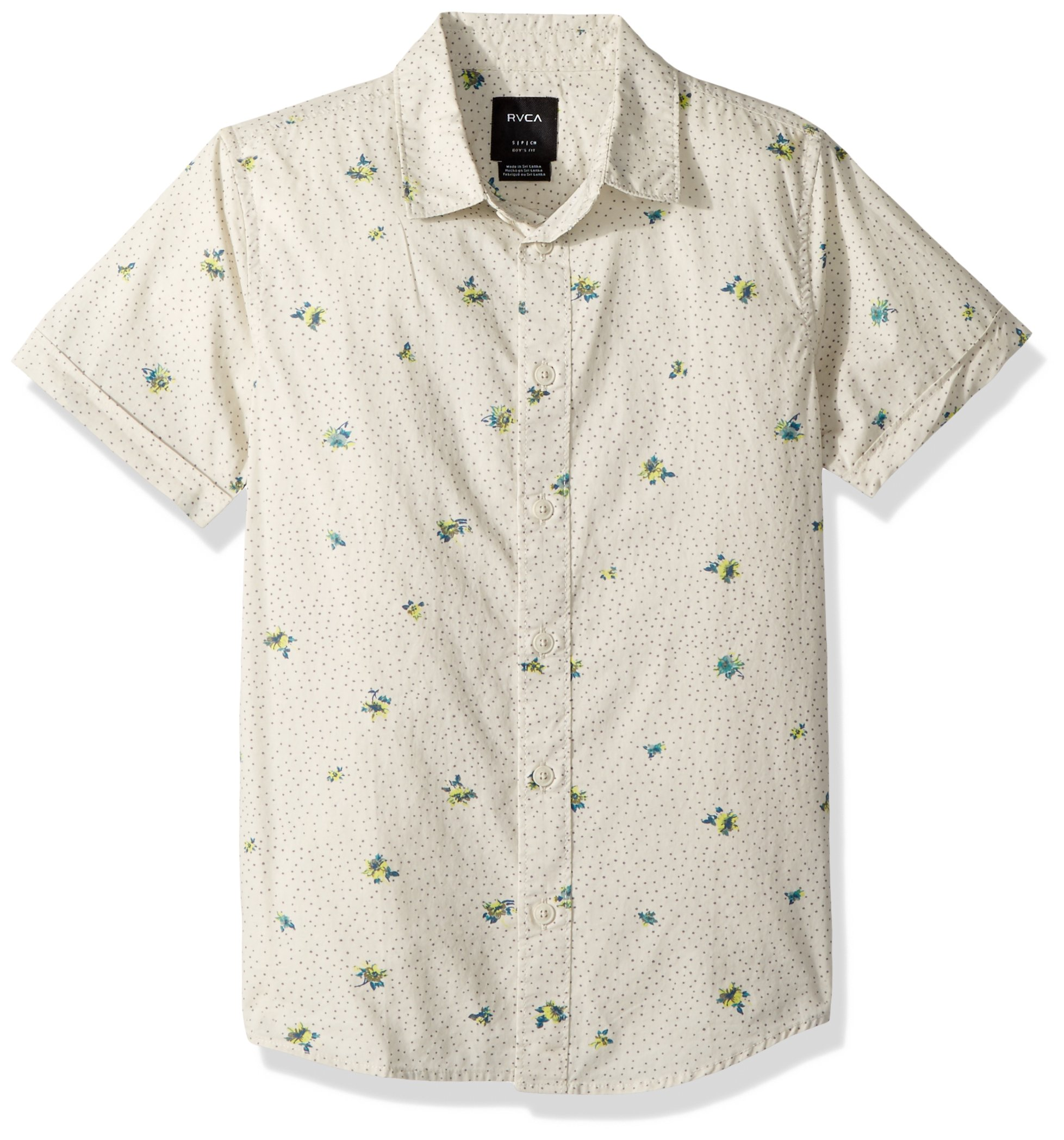 RVCA Boys' Big Scattered Short Sleeve Woven Button Down Shirt, Silver Bleach, S