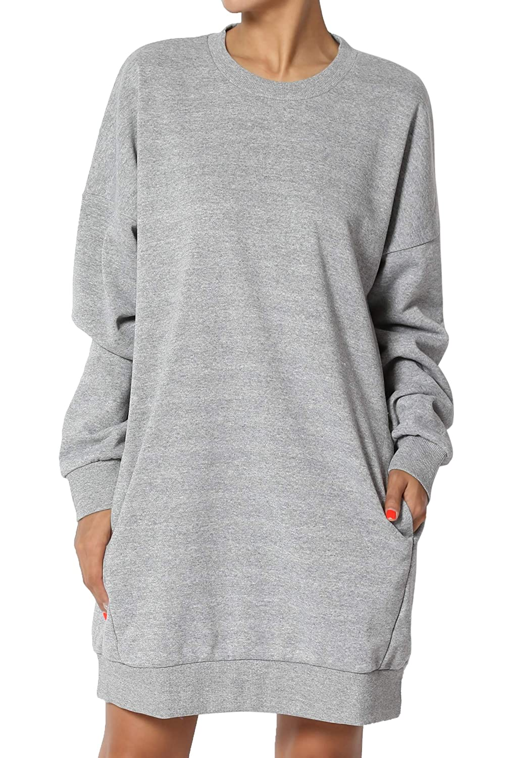 TheMogan Casual Oversized Crew Neck Sweatshirts Loose Fit Pullover Tunic S~3XL