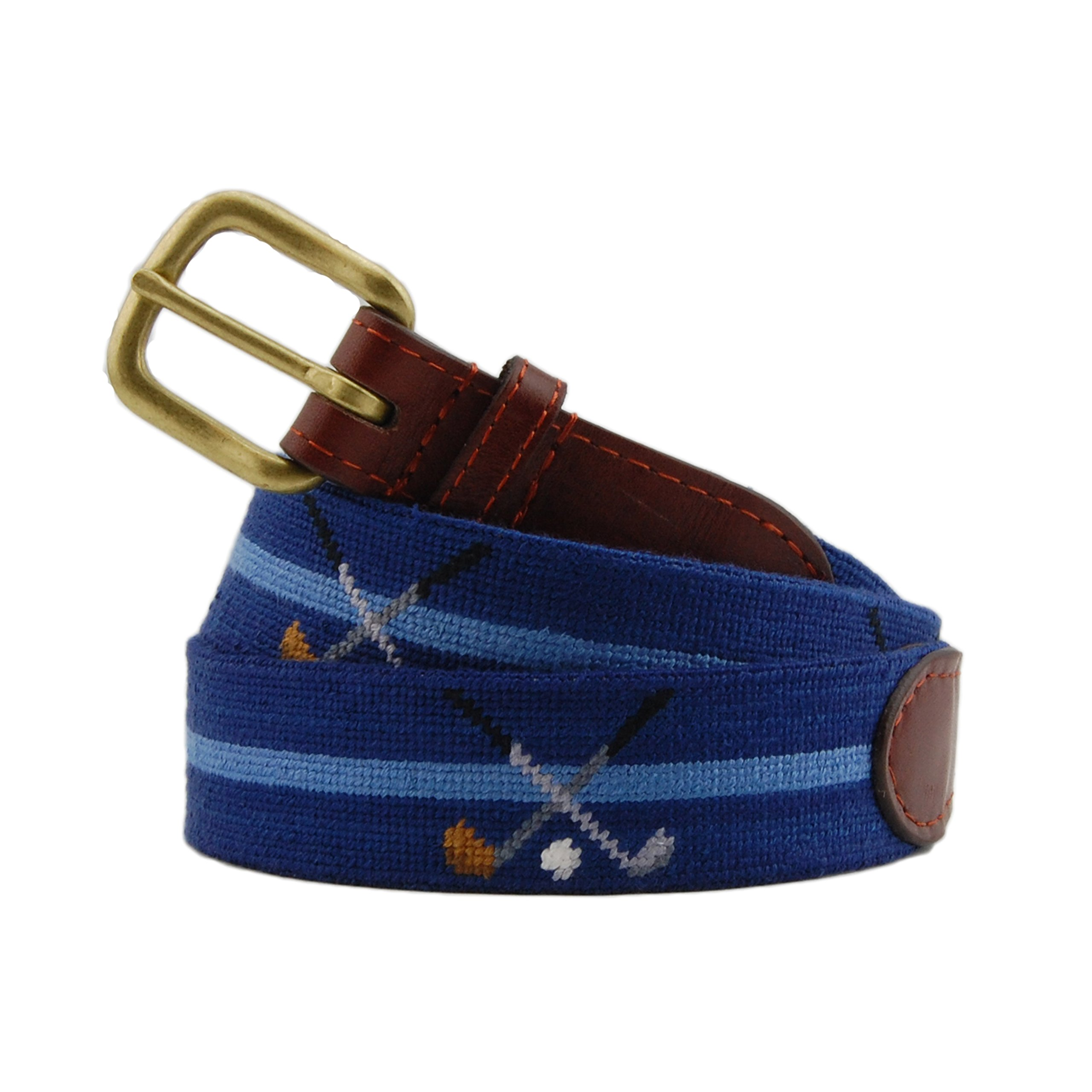 Smathers & Branson Men's Crossed Clubs Needlepoint Belt 40 Classic Navy by Smathers & Branson