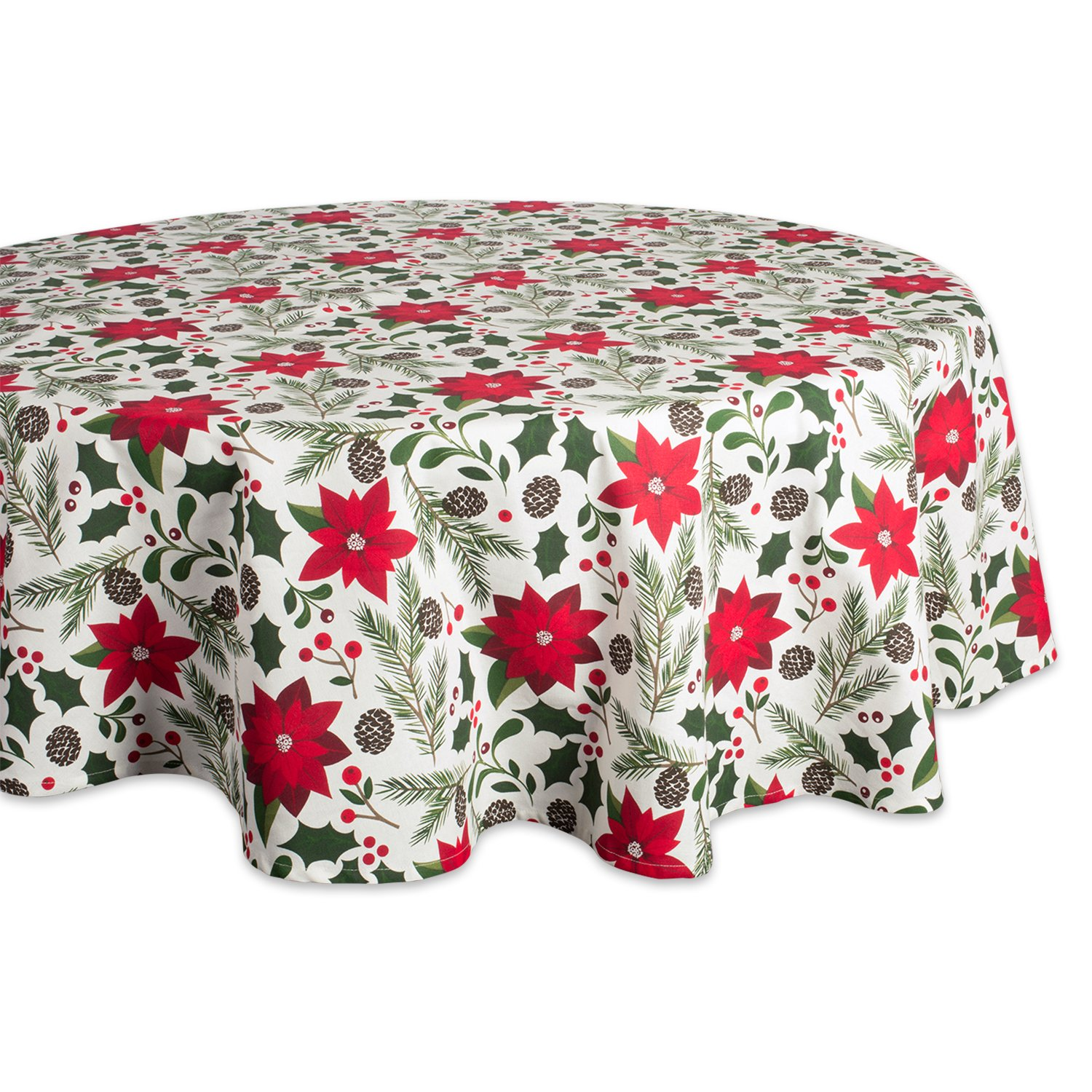 """DII 100% Cotton, Machine Washable, Dinner and Holiday Tablecloth - 70"""" Round, Seats 4-6 People, Woodland Christmas"""