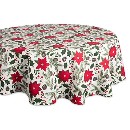 "DII 100% Cotton, Machine Washable, Dinner and Holiday Tablecloth - 70"" Round, Seats 4-6 People, Woodland Christmas best Christmas tablecloth"