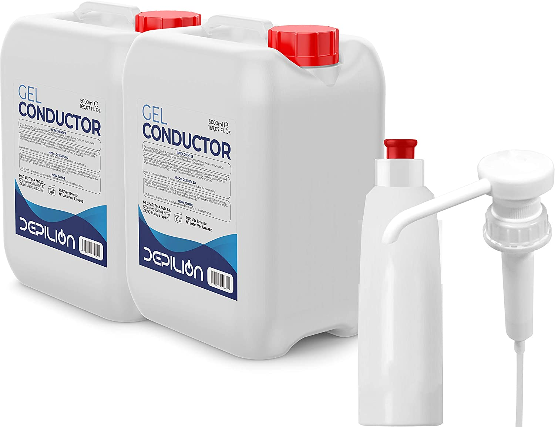 DEPILION 2 x Gel de ultrasonidos 5 litros con Dosificador y Bote / 2uds Garrafas Gel Conductor Laser, Cavitacion, IPL