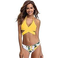 SHEKINI Traje de Baño para Mujer Traje de Baño Halter de Dos Piezas Bikini con Cuello Bajo Sexy Conjunto de Trajes de Baño de Impresión Floral
