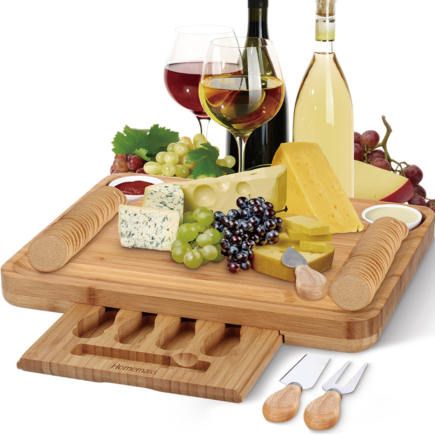 Bamboo Cheese Board with Cutlery Set, Larger and Thicker Charcuterie Platter & Meat Server with Slide-Out Drawer, 4 Stainless Steel Knife, Server Set - Beautiful Package Personalized Gifts