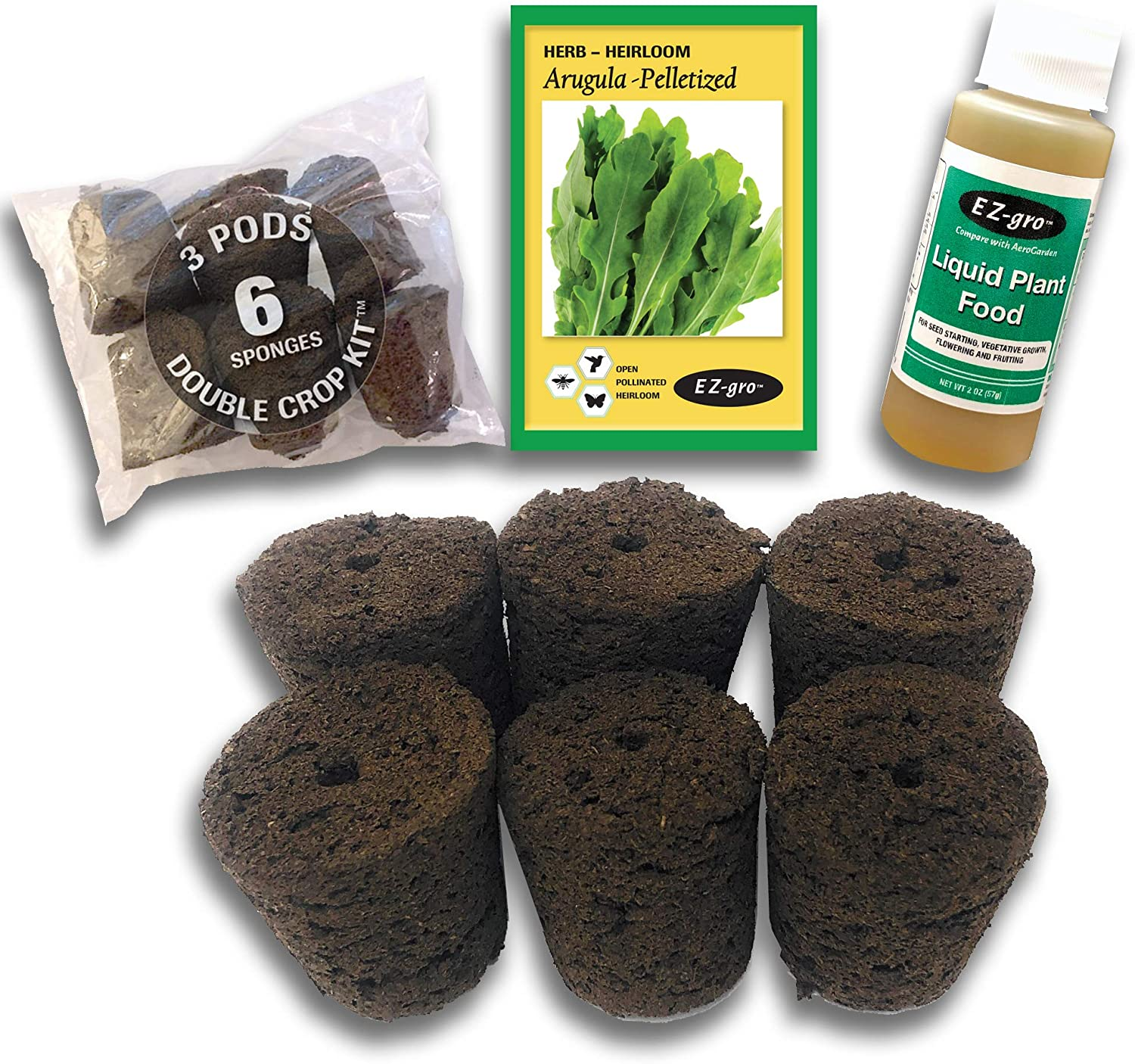 Arugula Seed Pod Kit Compatible with Click and Grow Smart Garden by EZ-GRO (6 Pack) | Double The Sponges & Double The Seed for 2 Crops | Pelletized Seed Compatible with Click and Grow Pods