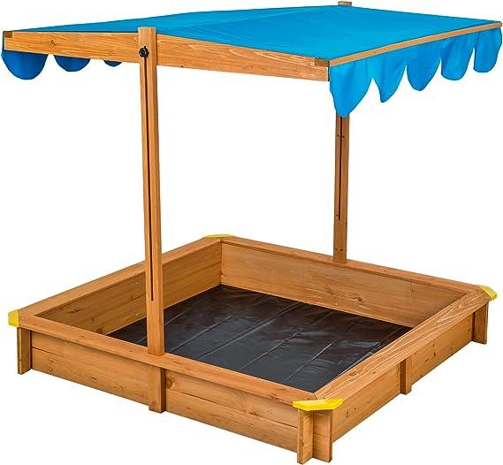 TecTake Arenero con techo regulable cajón de arena jardín juego para niños madera - disponible en diferentes colores - (Azul | No. 402220): Amazon.es: Juguetes y juegos