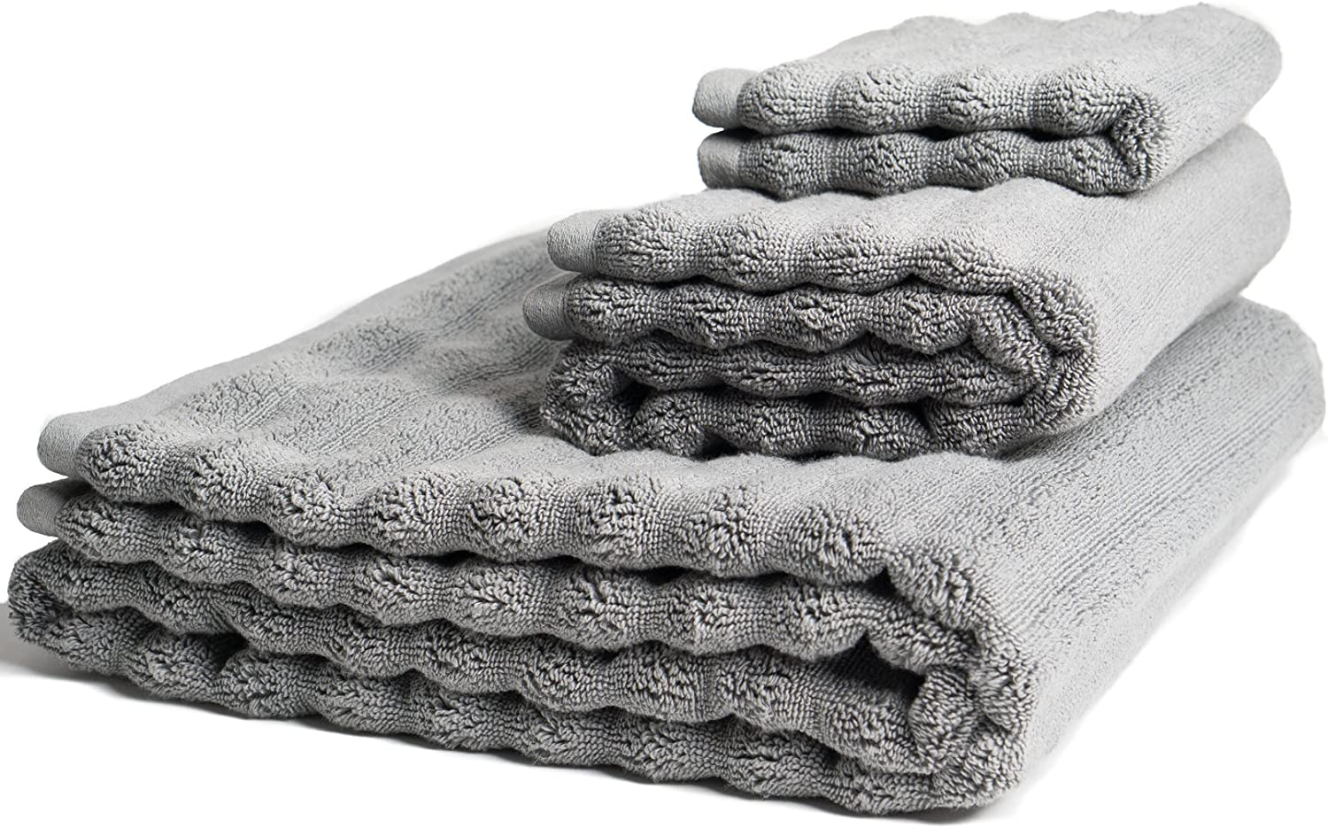 Nutrl Home Classic Bath Towel Set - Antimicrobial 100% Supima Cotton (Grey) Premium Luxury Bath, Hand, Washcloth Towels Perfect for Hotels, Travel, Bathrooms, Spa, and Gym