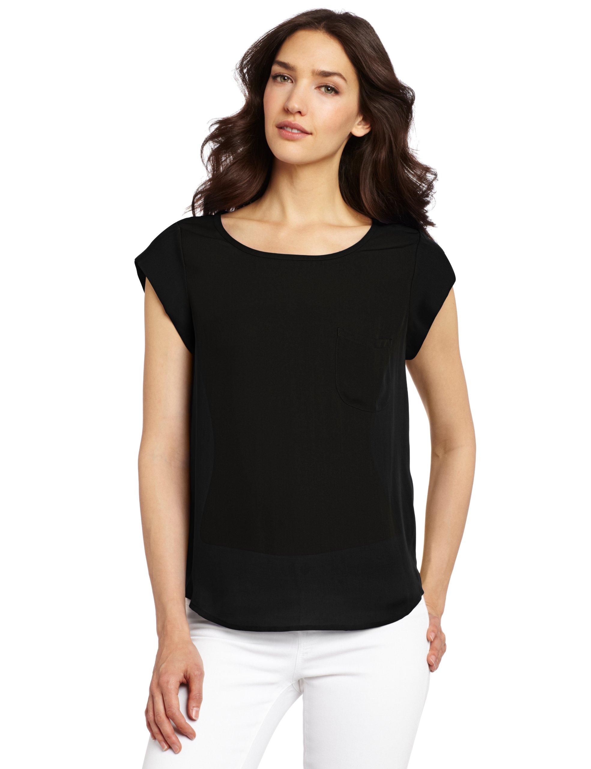 Joie Women's Rancher Silk Short Sleeve Pocket Top,Caviar,Large