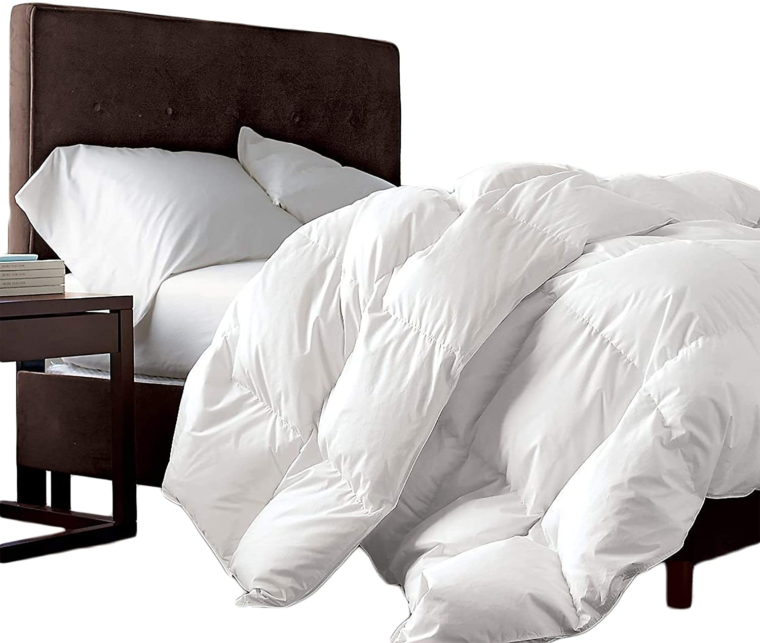 Luxurious Queen Size Siberian Goose Down Comforter 100% Egyptian Cotton 1200 Thread Count 1200TC - Baffle Box Design - 48oz Fill Weight - Full/Queen Duvet - Solid White: Kitchen & Dining