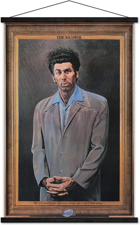 "Trends International Seinfeld - Kramer Wall Poster with Wooden Magnetic Frame, 22.375"" x 34"", Print and Black Hanger Bundle"