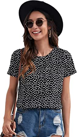 Milumia Women's Boho Ditsy Floral Print Short Sleeve Blouse Crew Neck Casual Top
