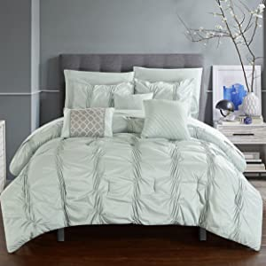 Chic Home CS2567-AN 10 Piece Tori Pinch Pleated Bed in A Bag Comforter Sheets Set and Decorative Pillows, Queen, Green