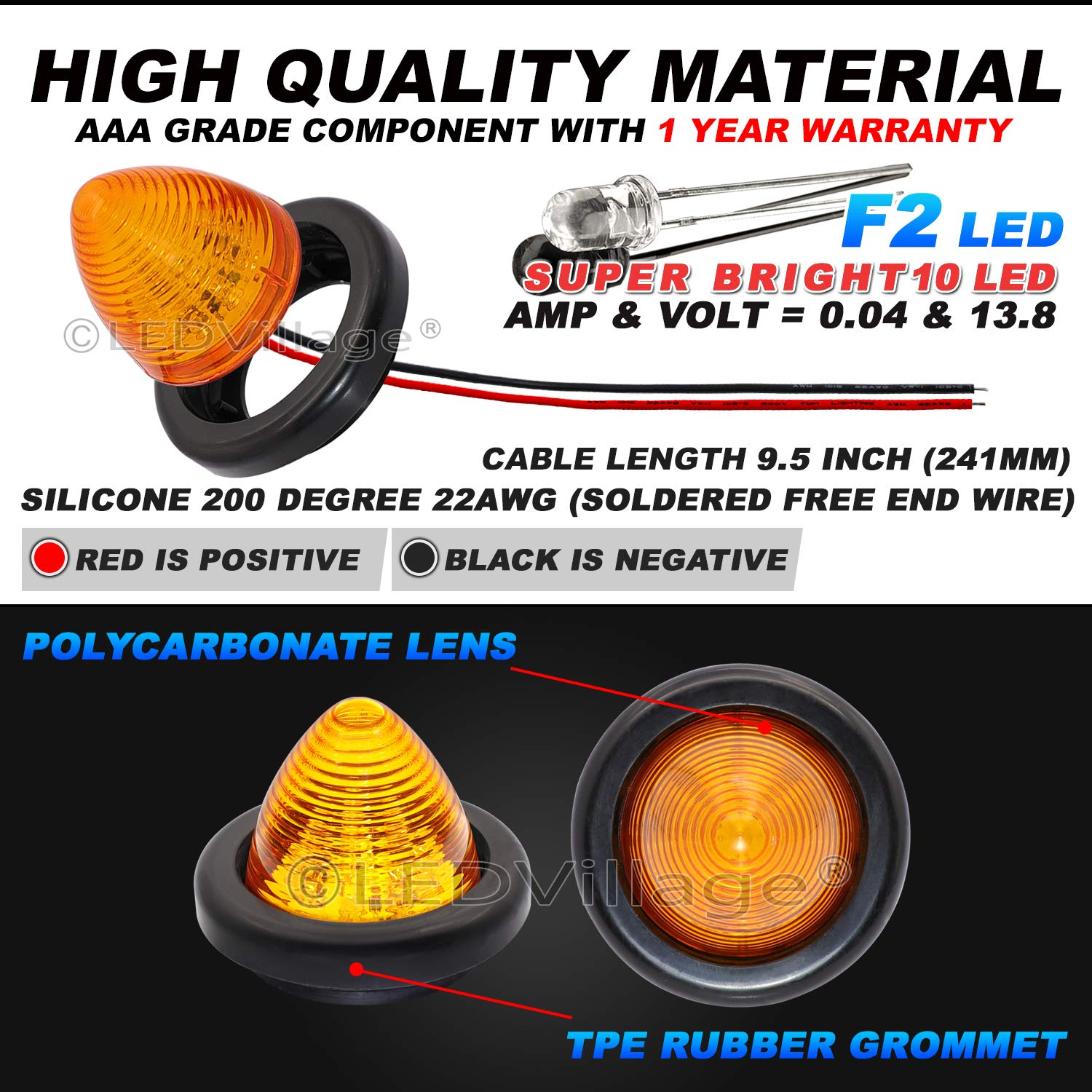 Pack of 4 2 Amber 2 Red Ledvillage 2 Inch 12V DC Beehive Cone LED Clearance Marker Indicator Light with Grommet for Heavy Duty Truck Bus Trailer RV Pickup Jeep Lorry Camper Tractor 10 Diodes OL12