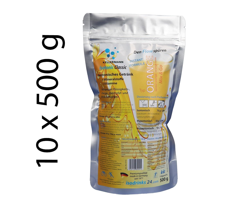 10 x 500 g bebida isotónica en polvo KELLERMANN® ISOTONIC CLASSIC. Sabor NARANJA. Para los deportes outdoor: Amazon.es: Salud y cuidado personal