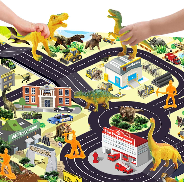 Winthai Alfombrilla de Dinosaurio Alfombra de Simulaci/óN de Juegos 17 Piezas Alfombrilla de Juguete de Dinosaurio para Ni/ñOs Alfombrilla de Juego Big City Village y Road