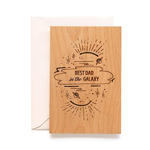 Father/'s Day  Dad or Father Birthday Best Dad in the Galaxy Wood Card