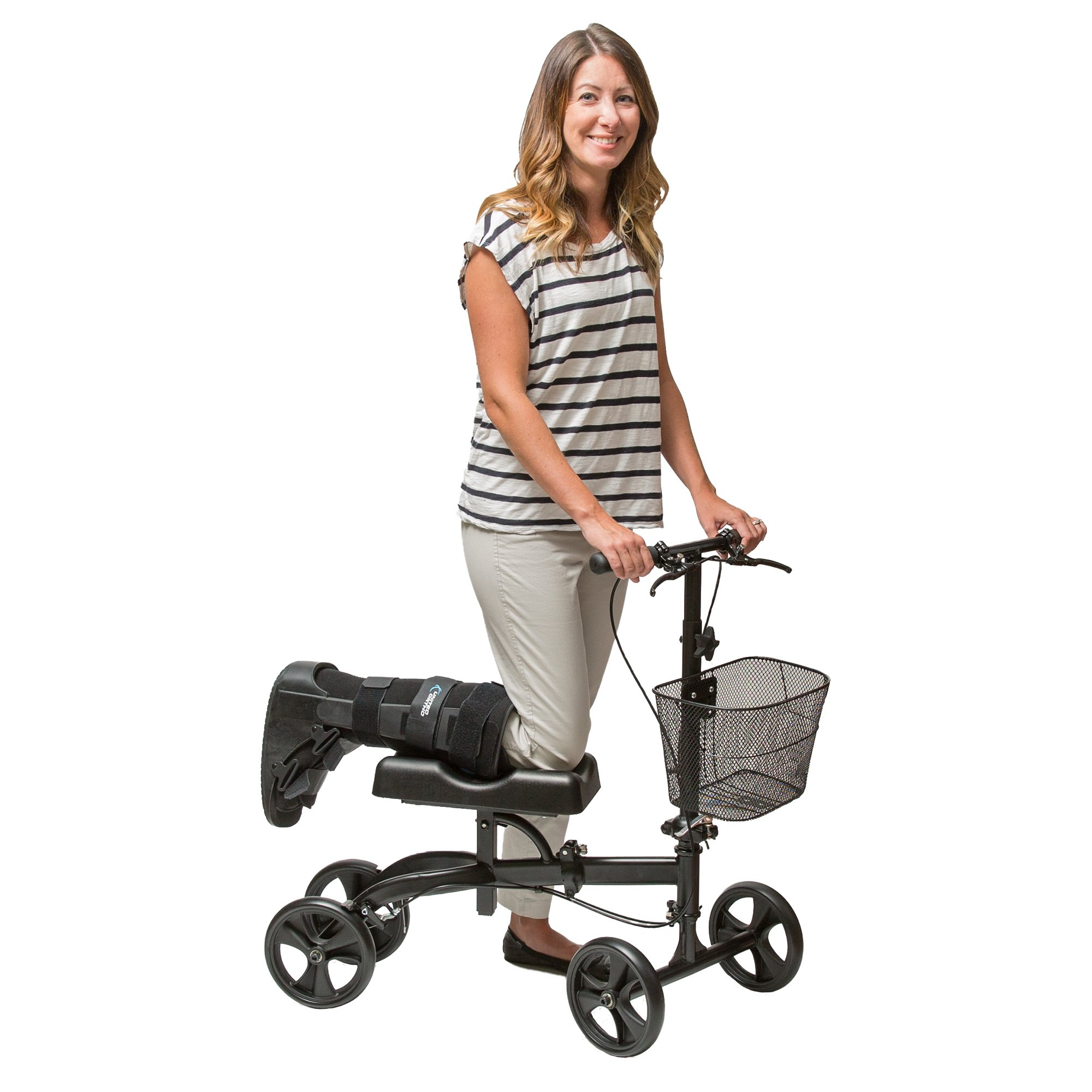 Healthport Knee Walker | Steerable Knees Scooter for Foot Injuries | Folding, Dual Breaks, Parking Mechanism | Increased Turning Radius for Indoor & Outdoor | Matte Black, Compact Crutches Alternative