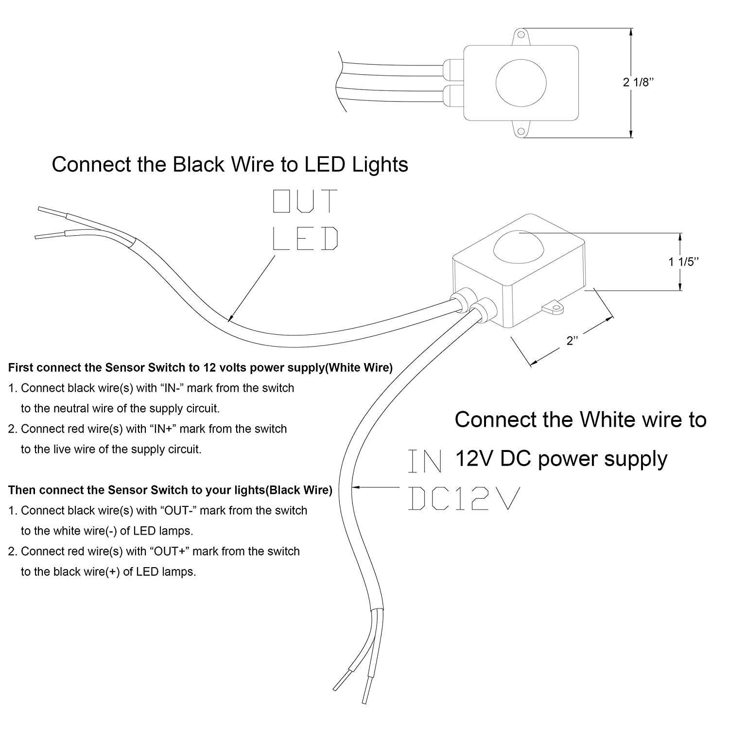 Dc Power 2 Switches Lights Diagram Trusted Schematics Wiring 1 Switch Facon 12v Motion Sensor On Off Use With Led Two Way Electrical