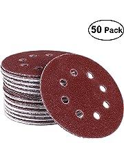 UEETEK 50pcs 8 Hole 5 Inch Hook and Loop Sanding Discs 40 Grit Sandpaper Circular Pads