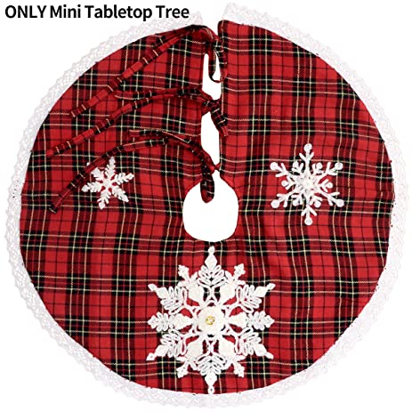 Grelucgo Mini Christmas Tree Skirt For Small Tabletop Embroidered Snowflake Round 21 Inch