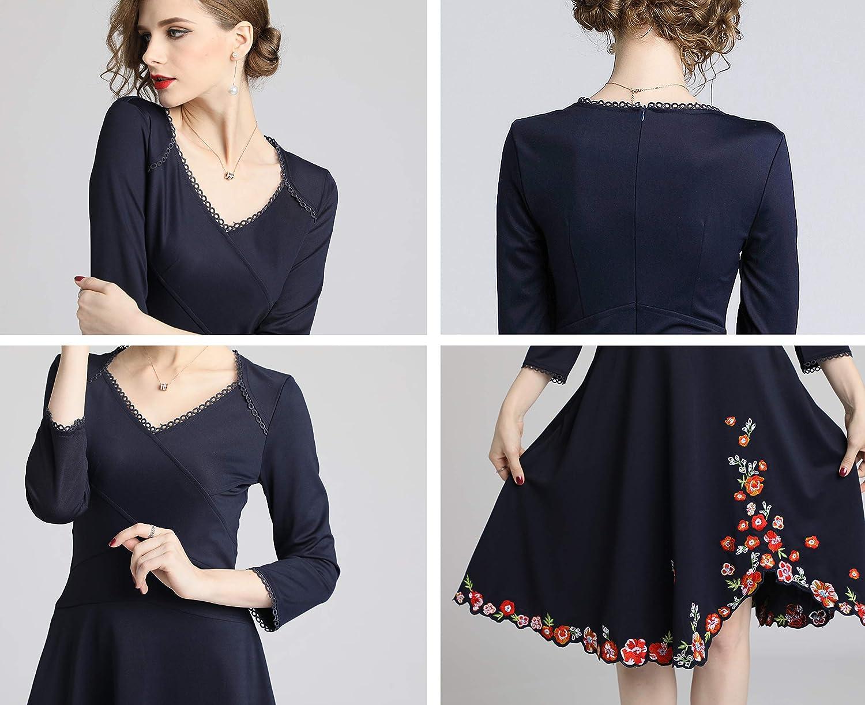 LAI MENG Women's Premium V Neck Embroidered Floral 3/4 Sleeves Skater Cocktail Dress Style 4