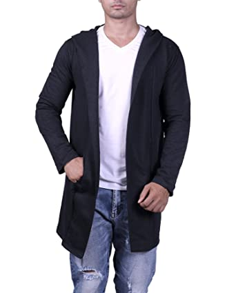 3281a6f87c071 DENIMHOLIC Men s Cotton Blend Hooded Cardigan (Charcoal, Small). Roll over  image to zoom in
