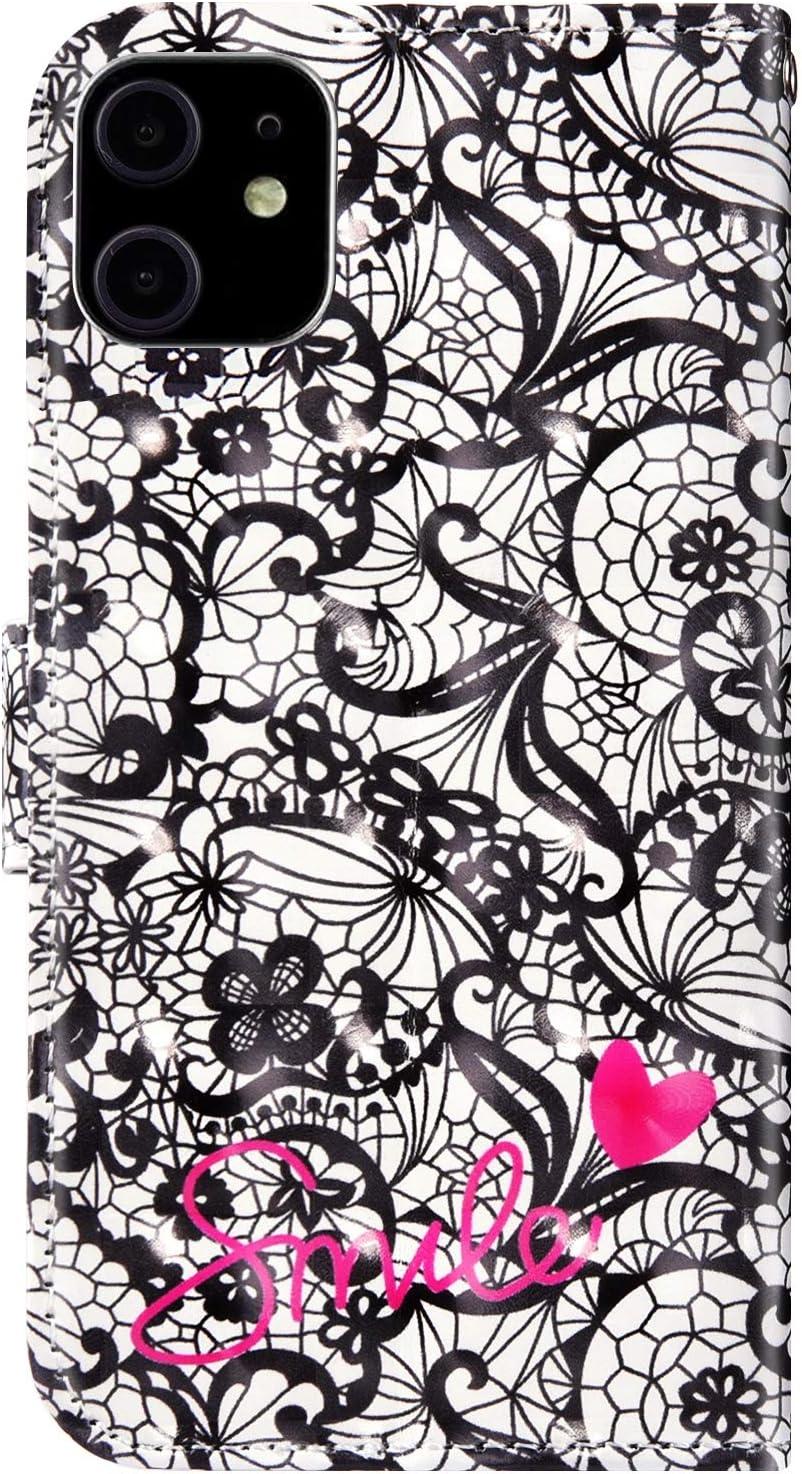 Ysimee Compatible pour Coque iPhone 11 en Cuir PU Portefeuille Effet 3D D/ésign Paillette Strass /Étui Magn/étique Wallet Flip Case Housse Protecteur avec Antichoc Bumper Poche de Cartes Stand,Arbre