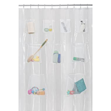 MAYTEX Quick Dry Mesh Pockets PEVA Shower Curtain or Liner, Bath/Shower Organizer, Clear, 70 inches x 72 inches
