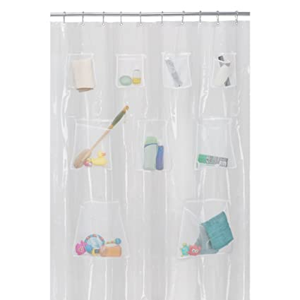 MAYTEX Quick Dry Mesh Pockets PEVA Shower Curtain Or Liner Bath Organizer