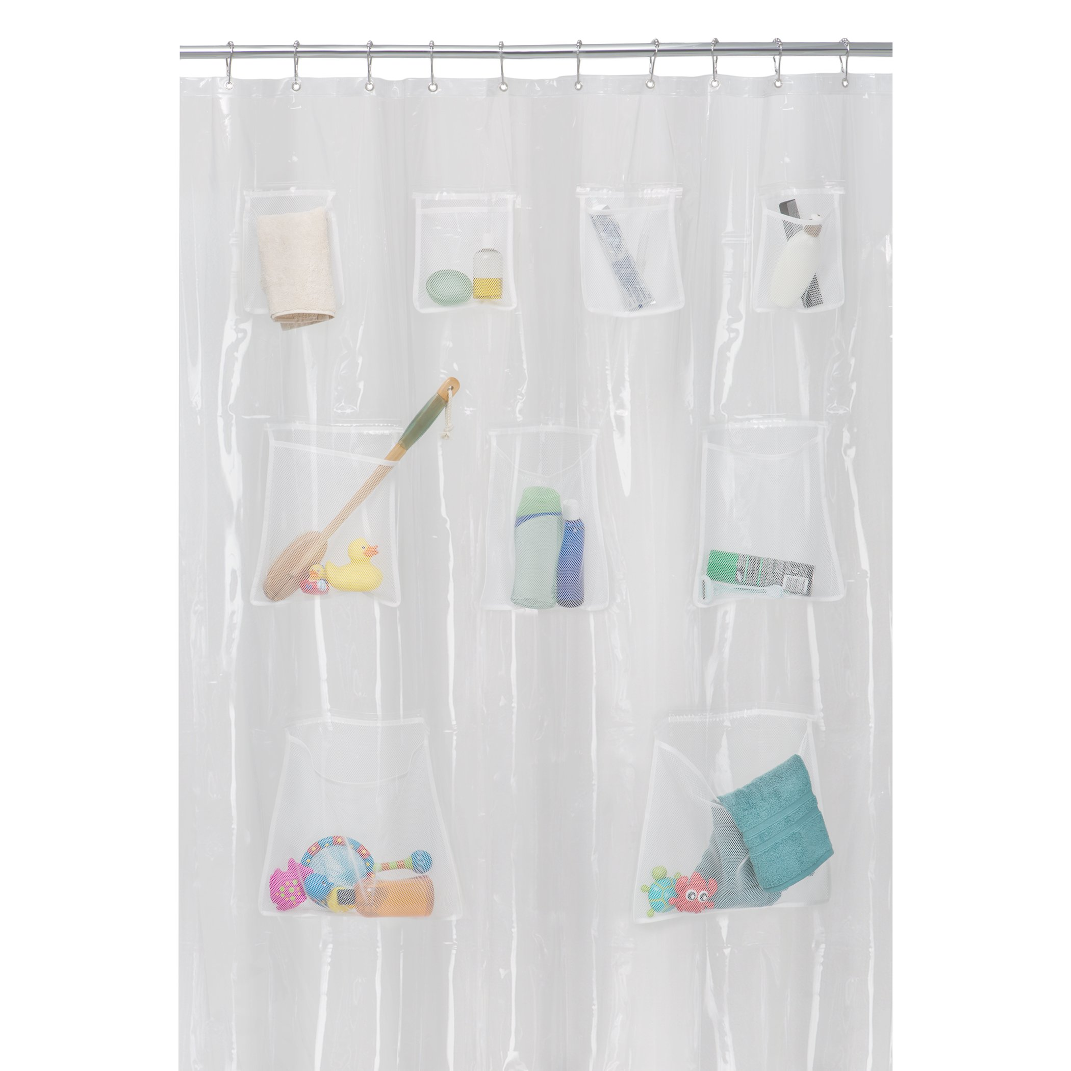MAYTEX Quick Dry Mesh Pockets PEVA Shower Curtain or Liner, Bath/Shower Organizer, Clear, 70 inches x 72 inches by MAYTEX