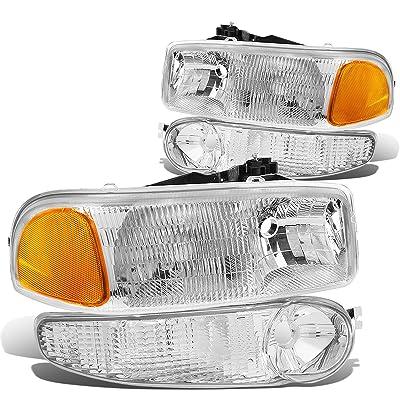 DNA Motoring HL-OEM-DAN99-4P OE Replacement Headlight and Bumper Lamp [01-06 GMC Sierra/Yukon Denali], White: Automotive