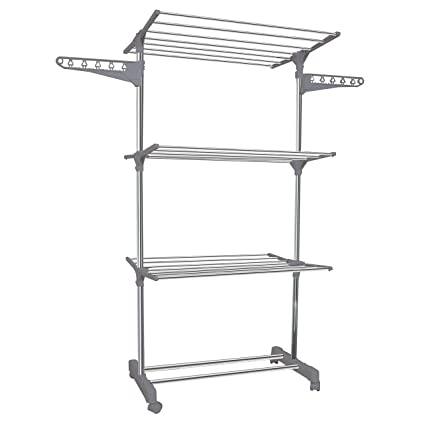 Ourhouse Clothes Airer Drying Rack Metal Silver 15 M Extra Large