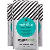 AmazonFresh Go For The Bold Whole Bean Coffee, Dark Roast, 12 Ounce (Pack of 3)