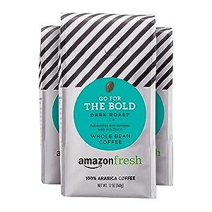 AmazonFresh Dark Roast Whole Bean Coffee, 12 Ounce (Pack of 3)
