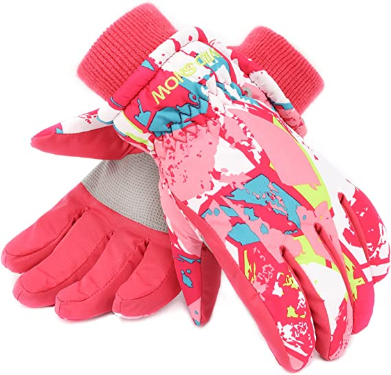 Kekison Ski Gloves for Kids Thermal Windproof Snowproof Mittens Winter Warm Outdoor Sports Skiing Riding Motocycling Bike Mittens for 7-13 Years Old Boys Girls.