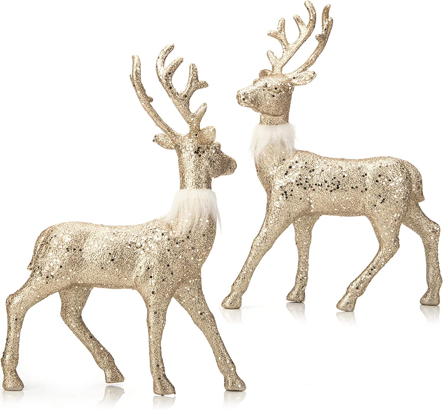 """iPEGTOP 2 Pcs Glitter Reindeer Decor Christmas Standing Deer Figurines, 12.6"""" X 9"""" Holiday Decorations Craft Gift Christmas Ornaments, Champagne Gold"""